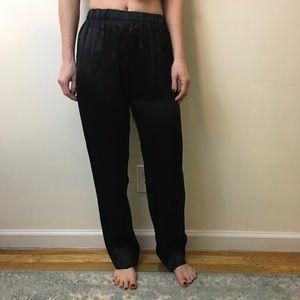 Reformation Pants - Reformation Black Satin Wide Leg Slack Pants
