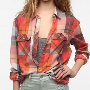 Urban Outfitters Tops - UO Burn Out Orange Plaid Button-down Shirt
