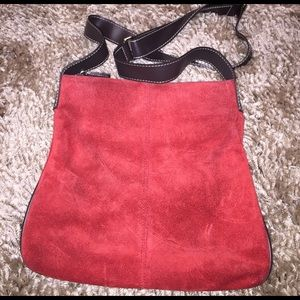 Red suede Old Navy cross body bag