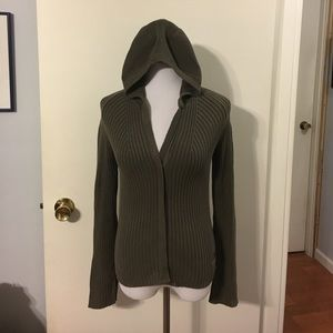 Chipie Sweaters - Chipie army green zip front hooded cardigan