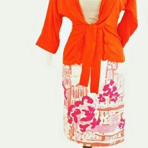 Vintage KEMP & Co 10 Art Pencil Skirt Silk Blend