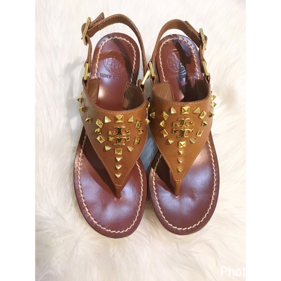 78f52d01690b Tory Burch Dale studded wedge thong sandals. M 5891466ebf6df5bf7f00d8ea