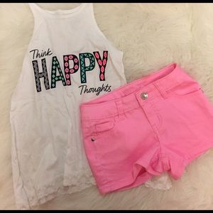 Justice Other - Think Happy Thoughts Tank & Neon Pink Shorts