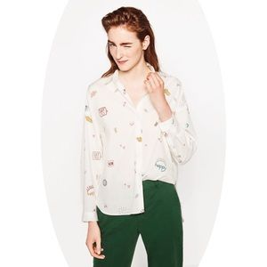 Zara Tops - Zara Oversized Poplin Shirt Be Happy Print NWT S