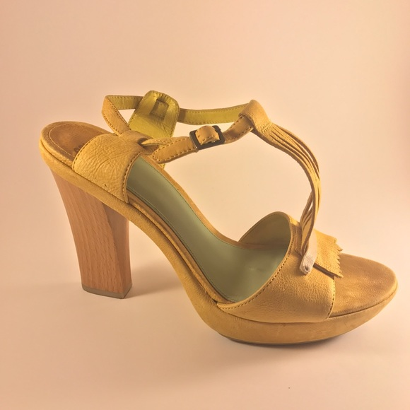 67cf462bf8e Camper Shoes - CAMPER yellow suede platform open toe heels tassel