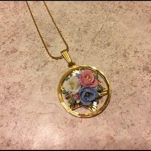 Vintage Masonic Ceramic Floral Gold Tone Necklace