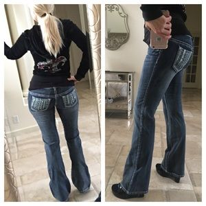 Vanity Denim - Vanity bootcut blue jeans stretch low rise Curvy