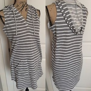 Lovestitch gray hooded terry striped dress
