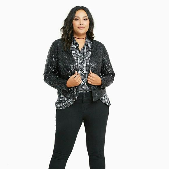 19deb623855 Torrid Black Drape Front Sequin Jacket