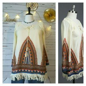 Plus Size▪Fringe Trim Tunic with Tribal Pattern