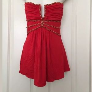 Sky Tops - Sky sexy red plunging neck leather & chain top S