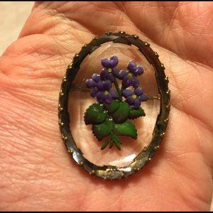 Jewelry - Vintage Reverse Intaglio Violets on Glass Germany