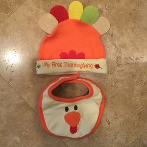Other - NWOT My first thanksgiving bib and hat