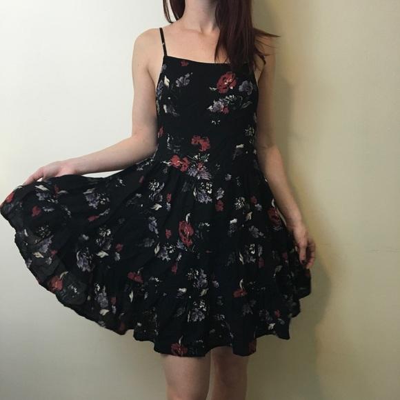 7f08fce9da9 Free People Dresses   Skirts - FREE PEOPLE Intimately Black Floral Printed  Slip
