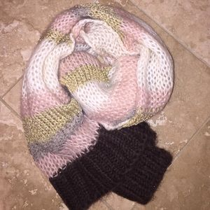 H&M Gold, blush, brown and white scarf