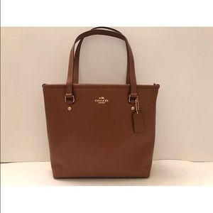 COACH ZIP TOP TOTE IN CROSSGRAIN LEATHER SADDLE