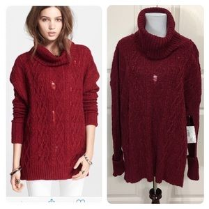 NWT! Free People distressed deep red cowl neck