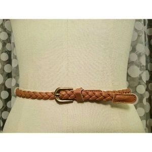 Accessories - Cognac braided skinny belt