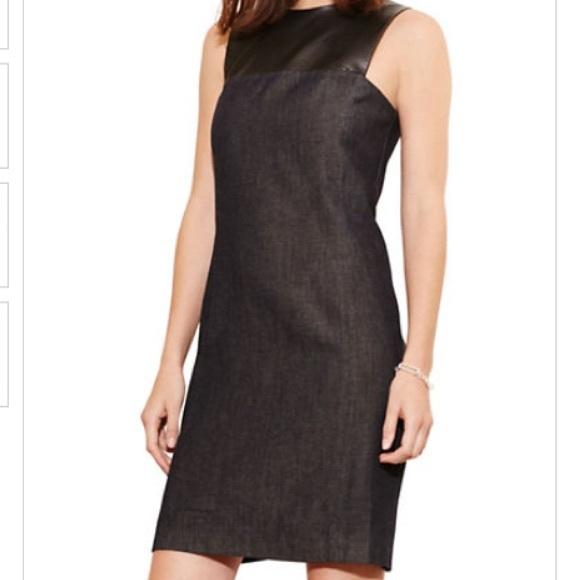 Sale!! Ralph Lauren Denim Faux Leather Shift Dress