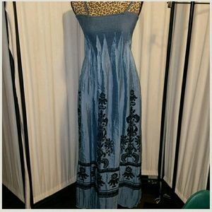 Lapis Blue stress spaghetti / strapless dress