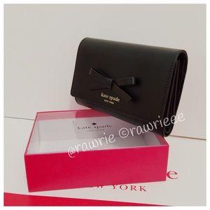 kate spade Handbags - New Kate Spade trifold black leather wallet & box