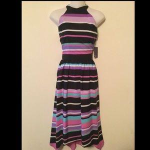 muse  Dresses & Skirts - NWT purple multi striped asymmetrical hem dress