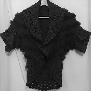 ☀Anthropologie Gray Crochet Sweater Shrug NWOT☀