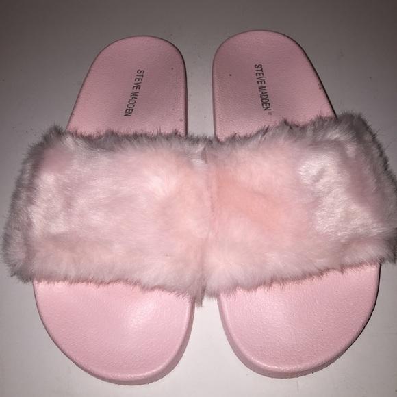 68b2b711c9f Steve Madden Pink Softey Faux Fur Slides 8/38
