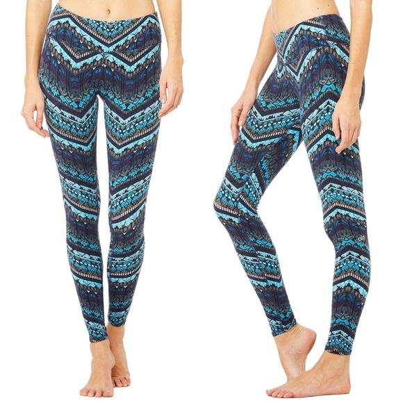 38% off ALO Yoga Pants - Alo Yoga Blue Fair Isle Airbrush Leggings ...
