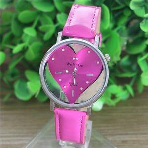 Hot pink heart shape watch