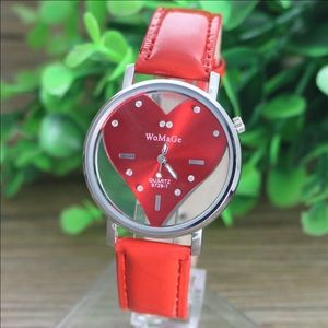 Hot red heart shaped watch