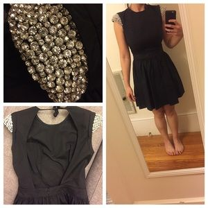 Rhinestone cap sleeve cocktail dress LBD