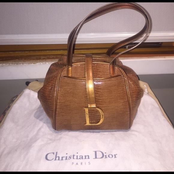 84aa8b622d83 Christian Dior Handbags - Vintage Christian Dior Embossed Brown Leather Bag