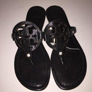 Tory Burch Pebbled Black Miller Sandals sz 9
