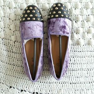 independent Shoes - Pu leather velvet studded festival loafers flats