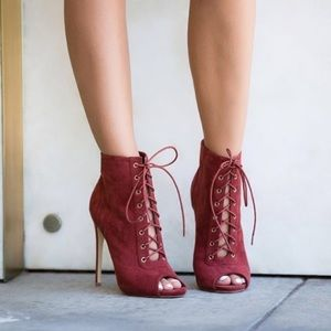 Shoe Dazzle Shoes - Shoedazzle Rust Lace Up Suede Ankle Booties