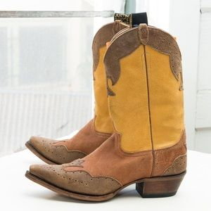 Justin Vintage western boot - wingtip, distressed