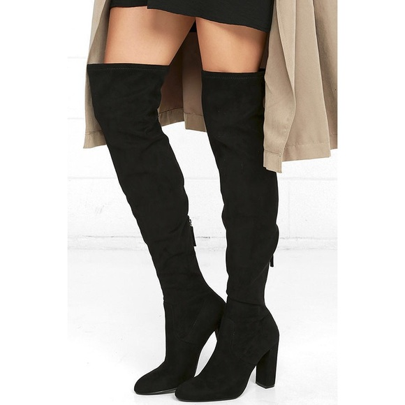 8461a72bc0f Steve Madden Emotions Black Suede Thigh-high Boots