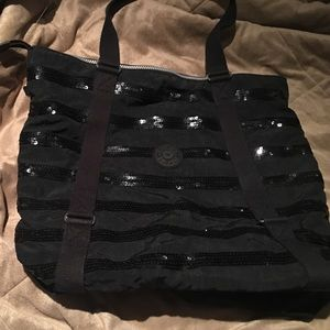 Black sequence Kipling tote bag