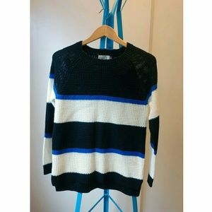 NWOT black, white and blue sweater