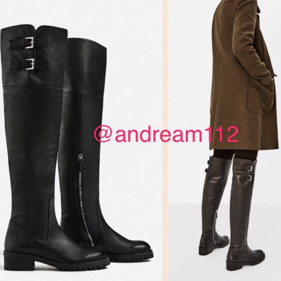 d3758600869 ZARA 100% Leather Over the Knee Boots