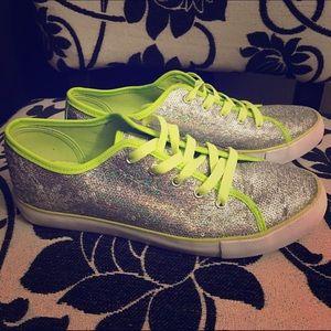 Gotta Flurt Shoes - Gotta Flurt Silver & Green Disco Sneakers -Size 10