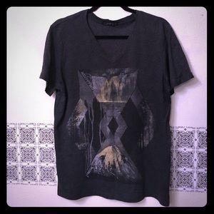 21men Other - 21 Men Graphic fashion tshirt charcoal grey vneck