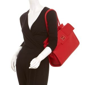 Isaac Mizrahi Handbags - Isaac Mizrahi Beatrice Red Leather Satchel