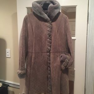 Jackets & Blazers - Merino Shearling Sapphire Mink Trim Coat