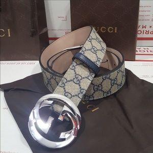 Gucci Other - Gucci Men Belt Blue Monogram Silver Buckle