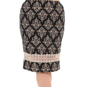 Bellino Clothing Skirts - 🆕Host Pick Plus Size Damask Lace Pencil Skirt