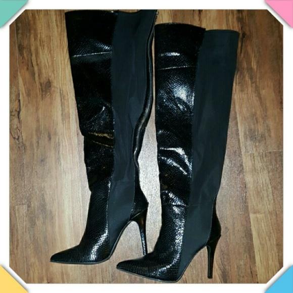 bbf7d81ce29 Black Over Knee Boot, Snake skin, Size 12W