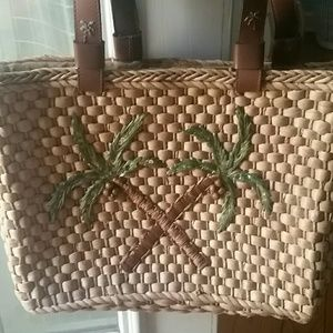 Palm Tree woven tote