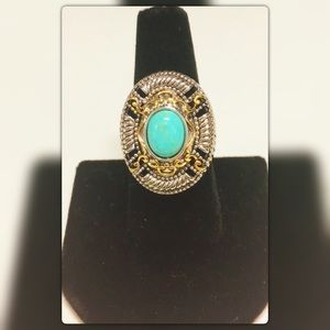 Jewelry - 🎉HP Sz 7 Gold Layered Turquoise Ring